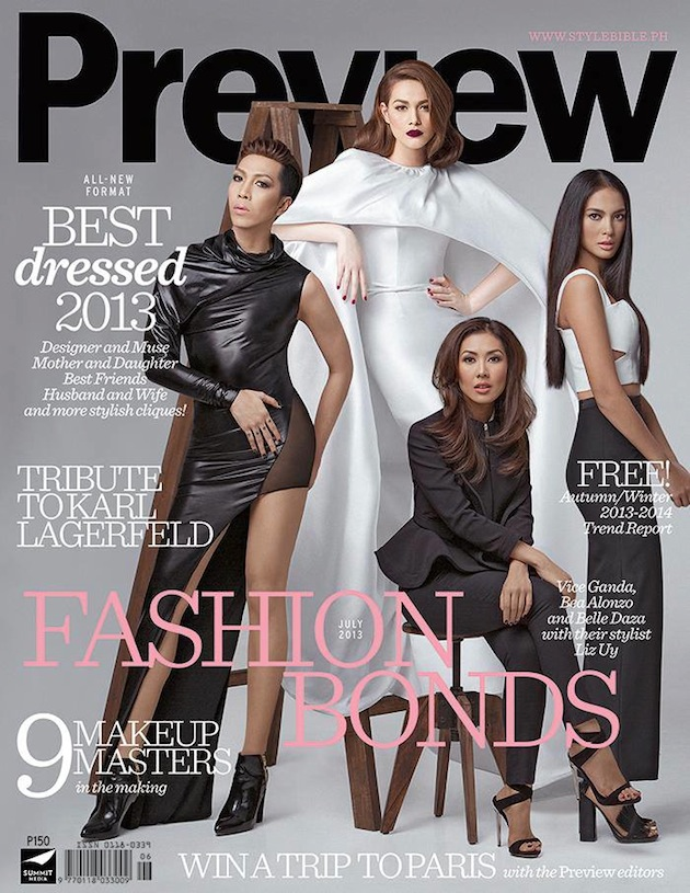 on the cover of Preview Magazine's Best Dressed Issue (July 2013