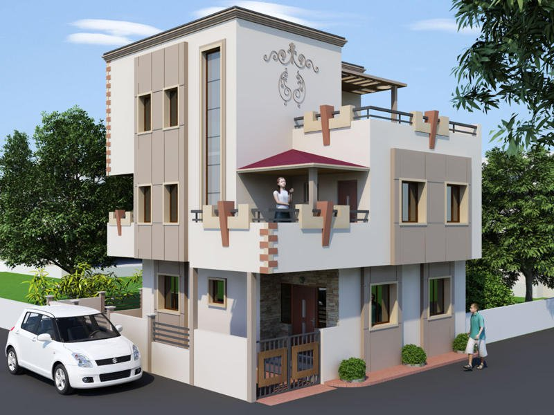 Superior New House Front Elevation Models Part - 8: 3D Front Elevation Design Maps And Beautiful 3D Front Elevation Of House At  Low Charges - Lahore .