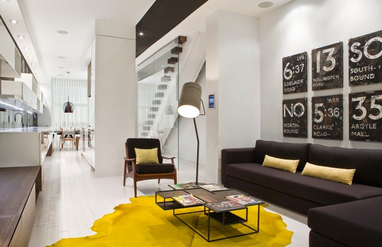Decoração de sala em amarelo - tapete amarelo