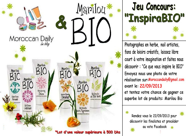 moroccan daily concours inspirabio avec marilou bio. Black Bedroom Furniture Sets. Home Design Ideas