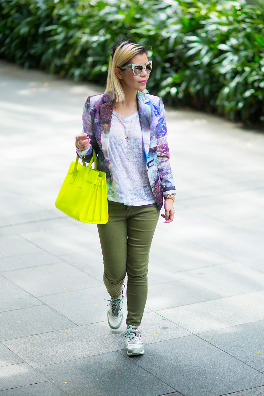 Crystal Phuong- Casual weekend with printed blazer, neon Sac de jour bag, and Dolce Gabbana sneakers