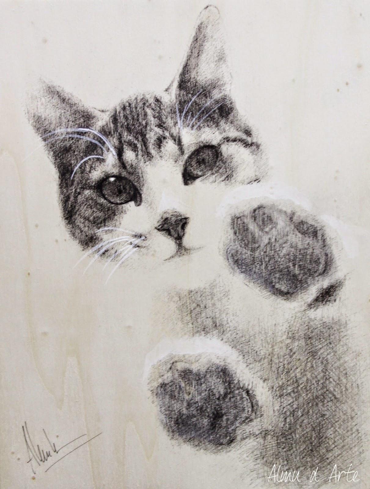 Dibujo de un gato con rotring negro