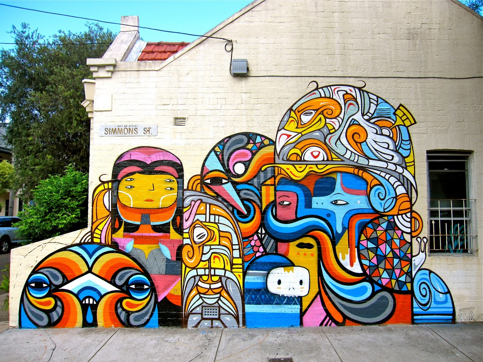 Beastman x phibs x creepy new mural in sydney australia for Australian mural