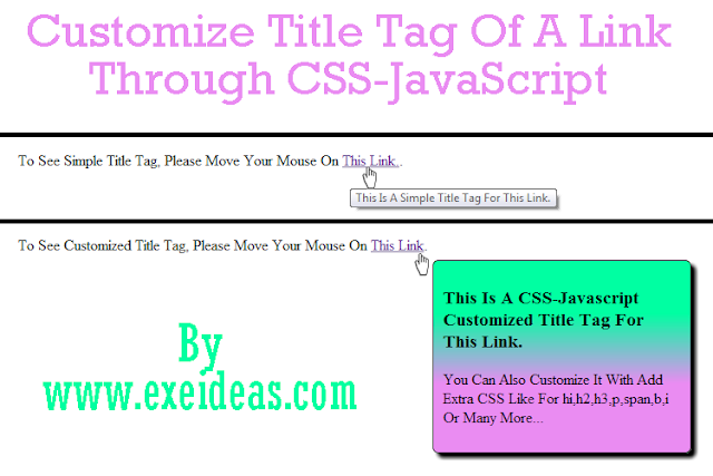 Customize Title Tag Of A Link Through CSS-JavaScript