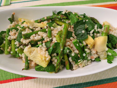 ... Israeli Couscous Salad with Roasted Asparagus, Artichokes, & Spinach
