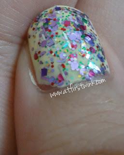 Peripera nail polish YE904 with Innisfree nail polish no. 108 on top