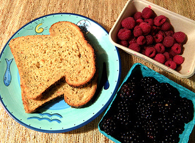 Sandwich bread, raspberries and blackberries
