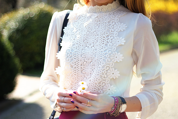 romantic white lace shirt, spring outfit