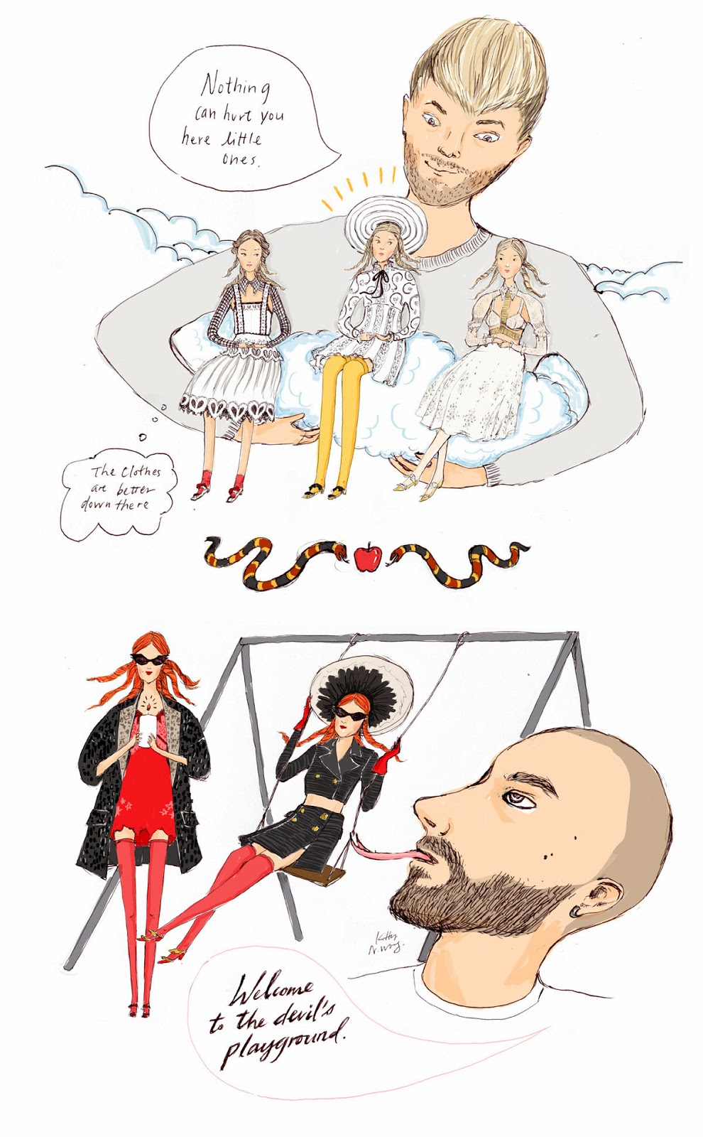 Kitty N. Wong / Meadham Kirchhoff heaven hell SS14 fashion comic