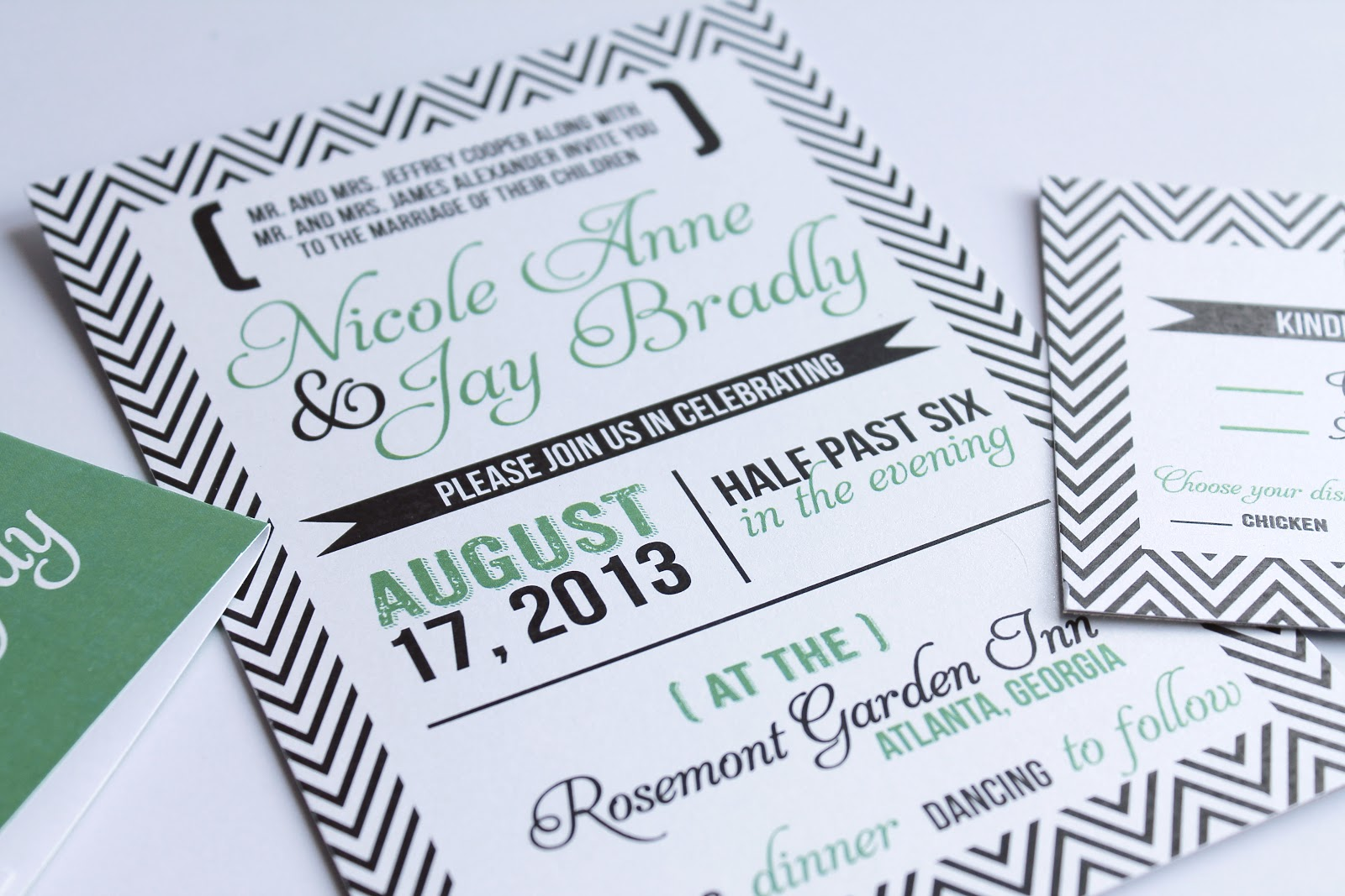 Modern Chevron Wedding Invitations ~ Diva Gone Domestic
