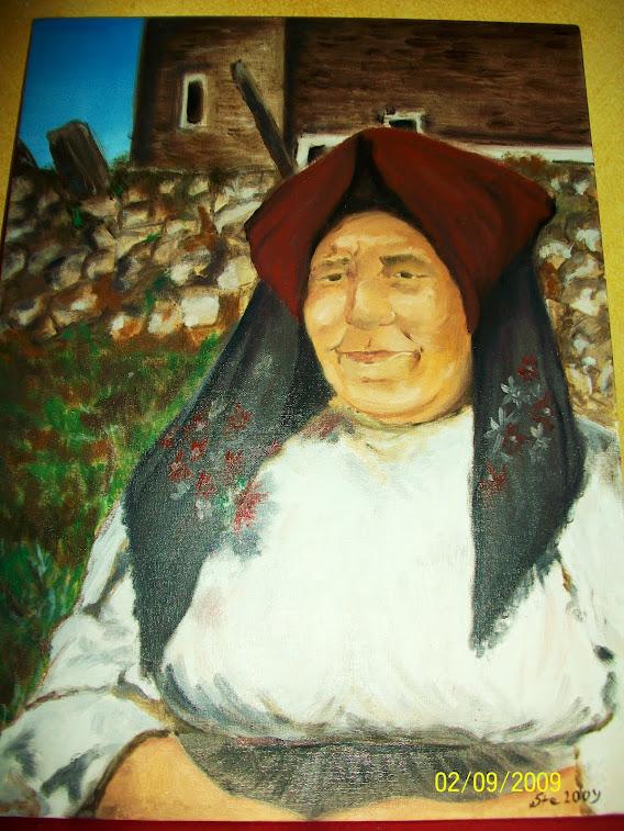 Ritratto ad olio donna in costume sardo
