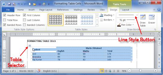 Table Tools Design tab in MS Word 2010