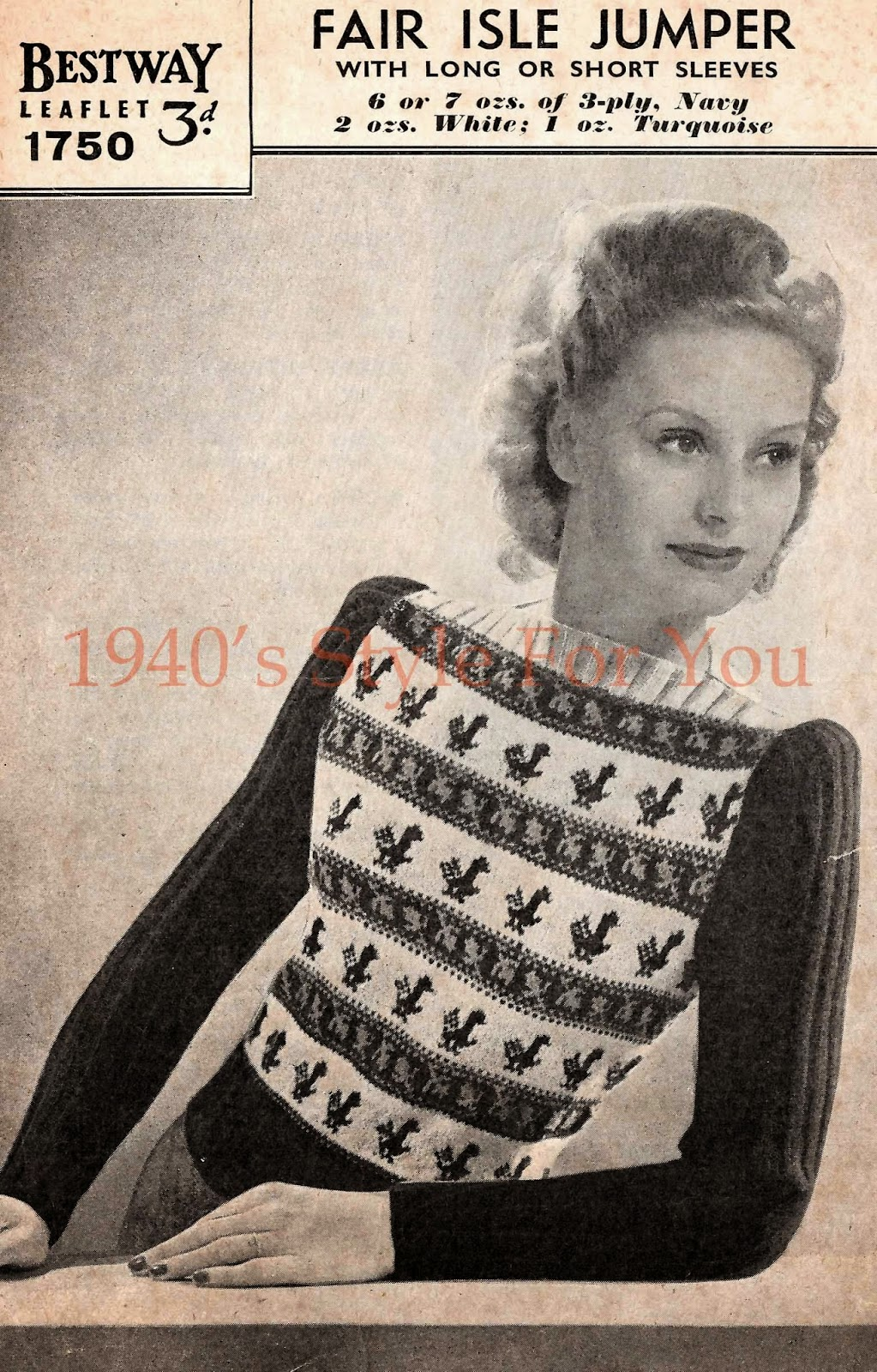 1940s Style For You: Free Knitting Pattern - 1940s Fair Isle Jumper...