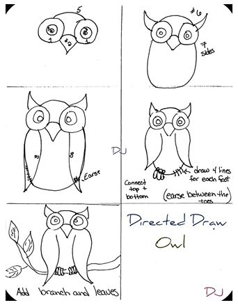 The homeschool voyager let 39 s draw owls we did it for Step by step drawing an owl