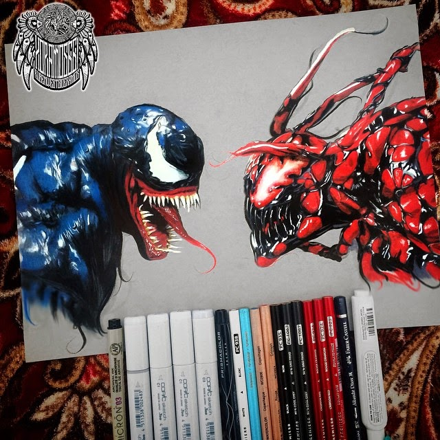16-Venom-Vs-Carnage-Ramos-Ruben-xoramos661-Photo-Real-Comic-Book-Coloured-Drawings-www-designstack-co