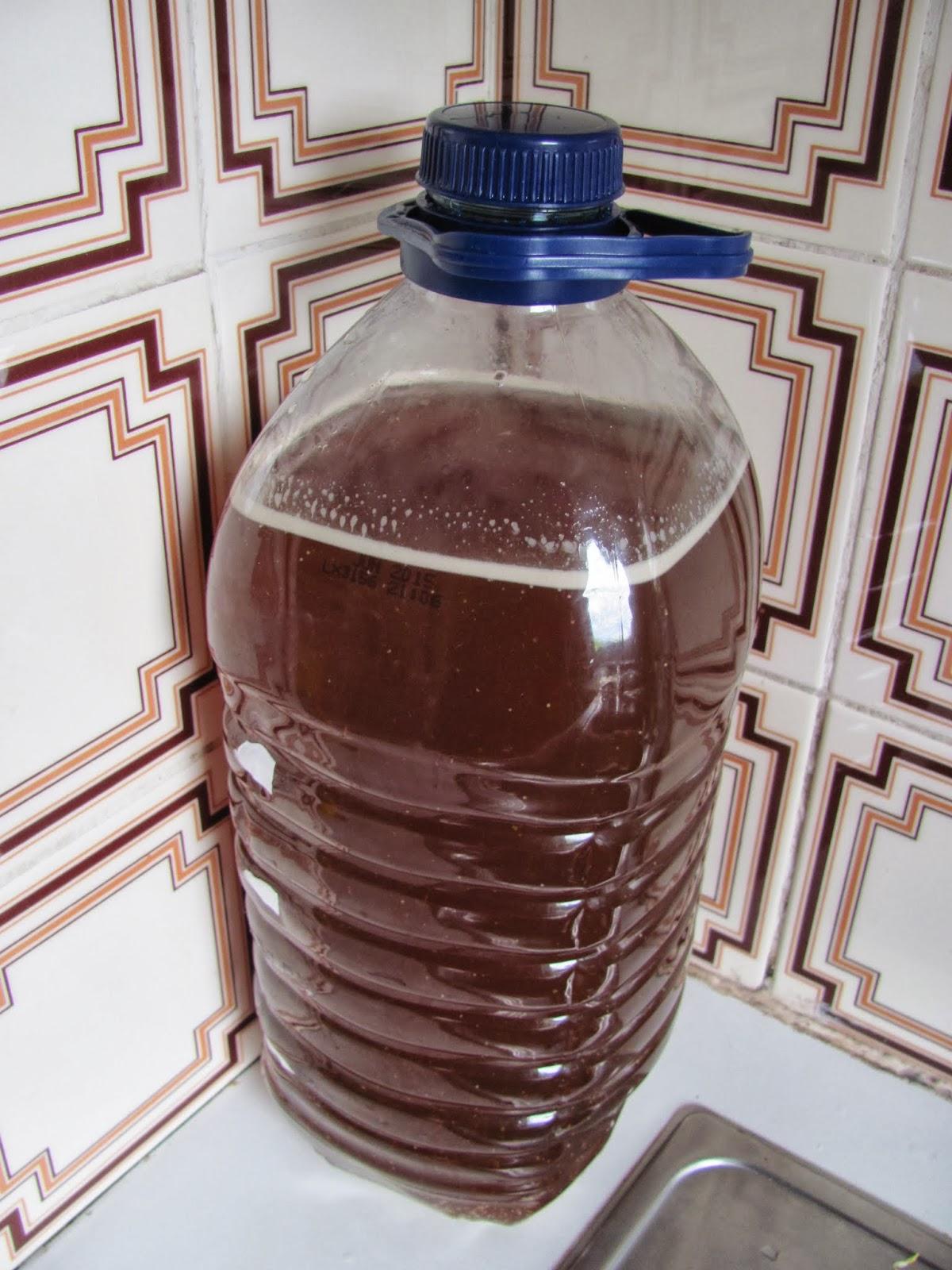 4.5L of hard apple cider in the fermenter before fermentation