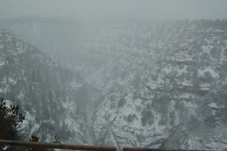 Snow at Walnut Canyon National Monument, by Lynda Yraceburu