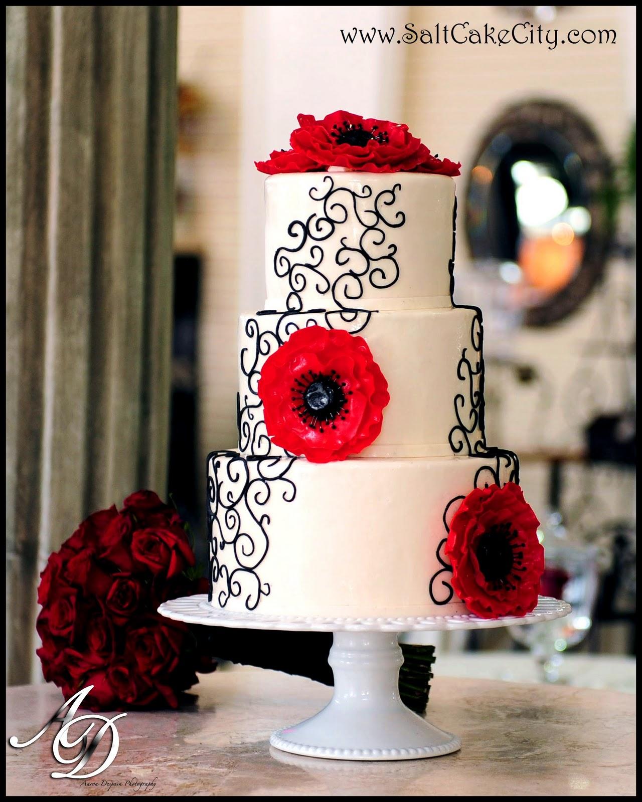 Salt Cake City Red Anemone Wedding Cake