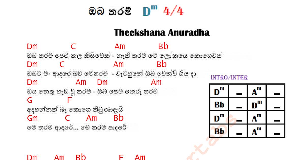 Oba Tharam Pem Kala Kisiwek Guitar Chords In D Minor Sinhala