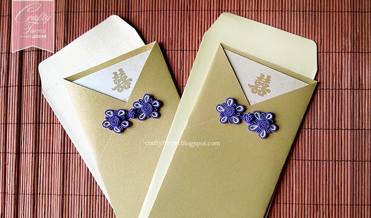 Grand Millennium Kuala Lumpur Wedding, Gold and Purple Chinese Button Wedding Invitation Card for Chinese Wedding Reception