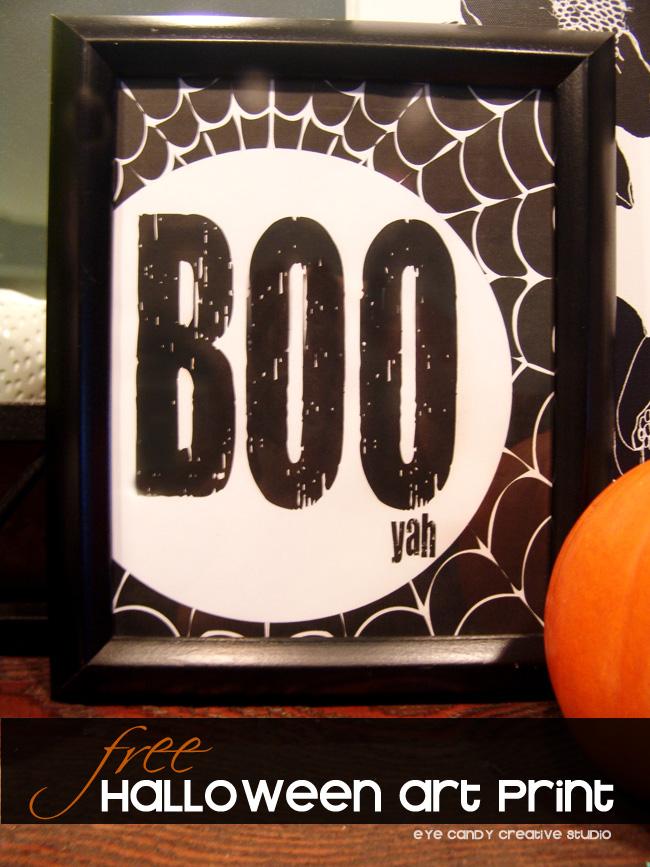 mantel decorating for halloween, pumpkin, spider web framed art