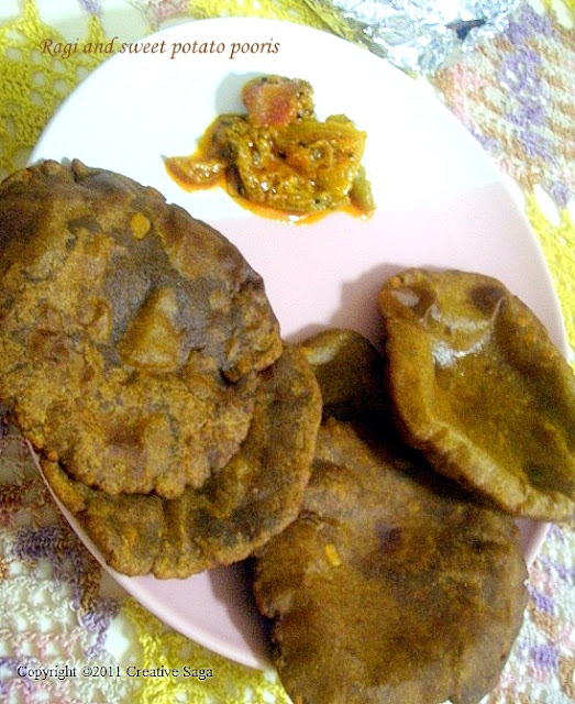 raagi and sweet potato pooris