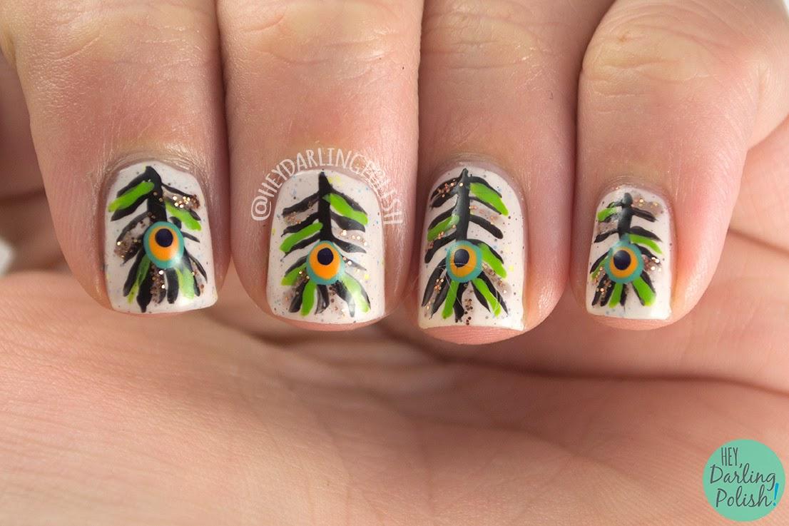 nails, nail art, nail polish, indie polish, feathers, peacock feathers, hey darling polish, oh mon dieu part deux
