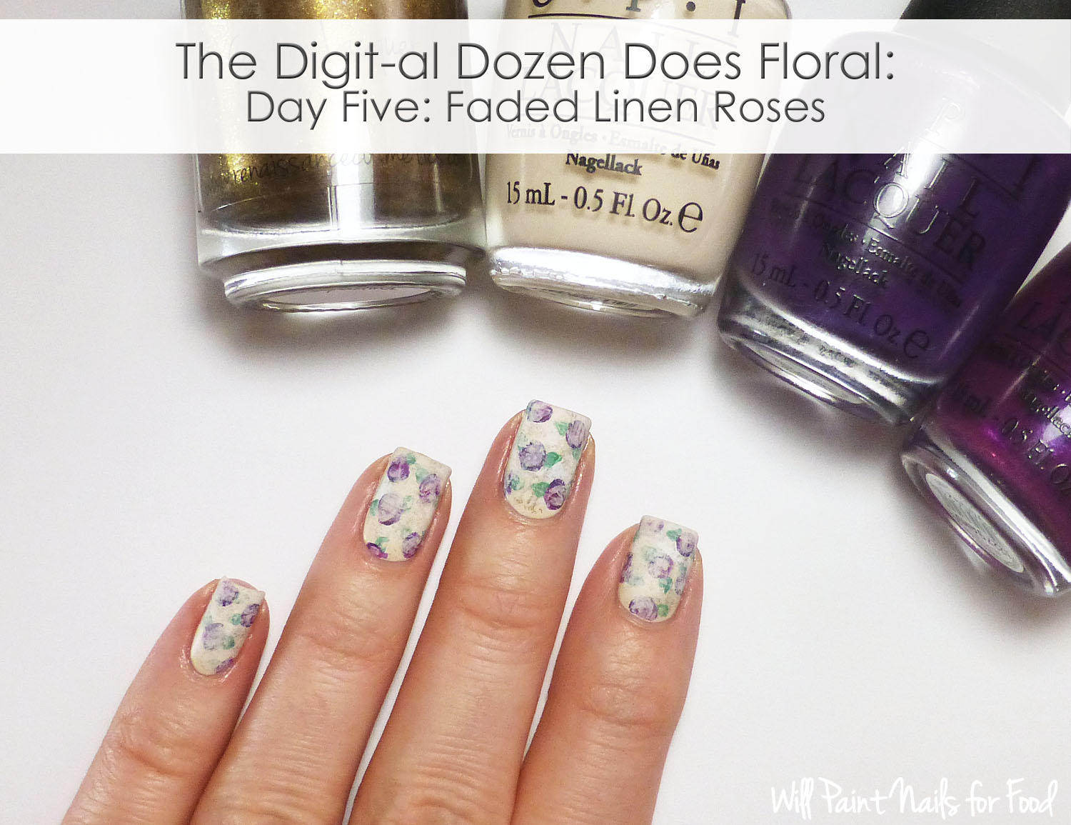 Faded linen roses nail art