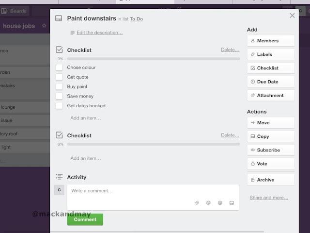 photo of trello checklist screenshot