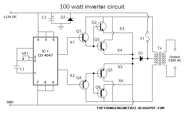 100W LOW POWER INVERTER USING CD4047 ~ The Young Engineerzz Blog
