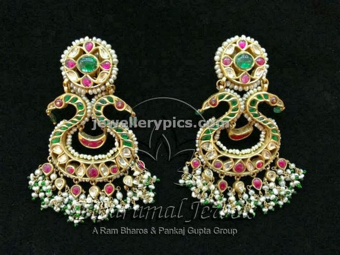 tibarumal kundan chandbali earrings