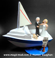 yacht wedding cake toppers