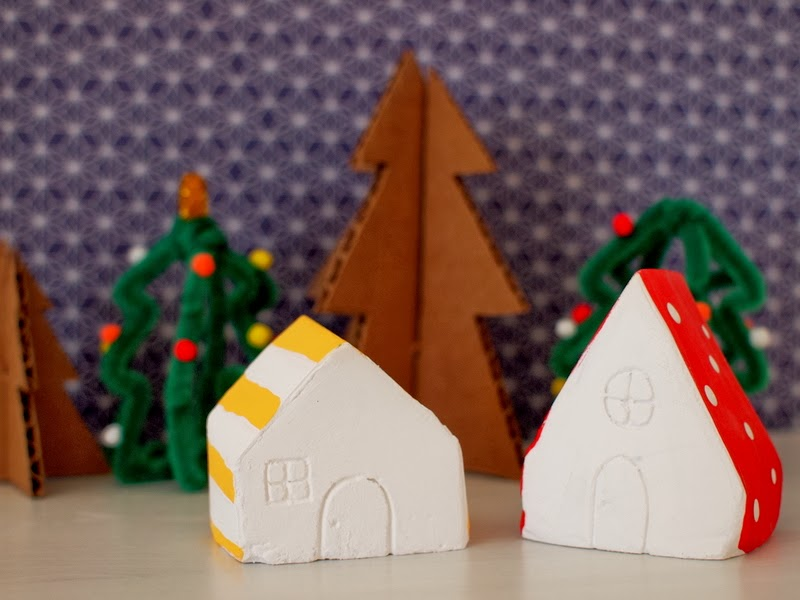 diy mini plaster of paris christmas village - Miniature Christmas Village