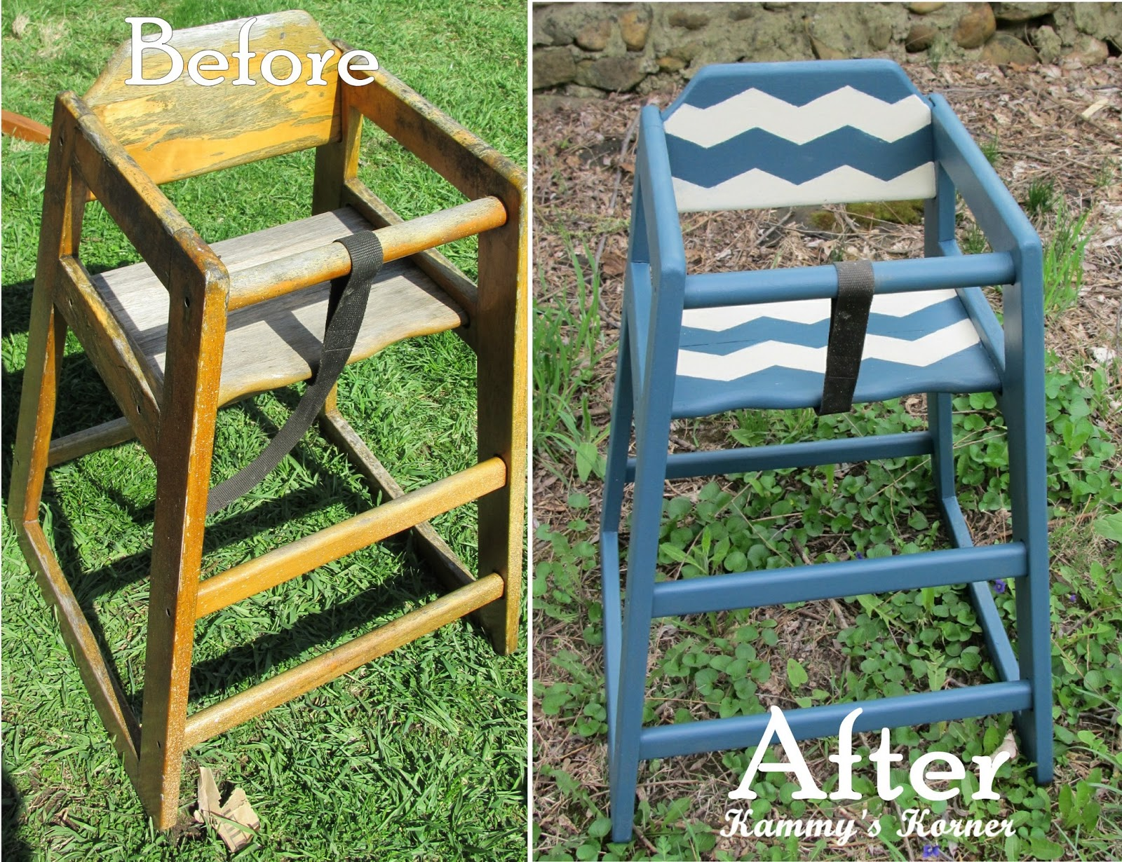 Painted wooden high chair - Restaurant High Chair Makeover Chevron