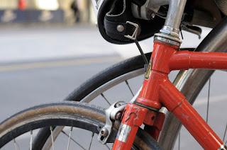 Austral, bike, bicycle, the biketorialist, biketorialist, single speed, fixed speed, fixie, Melbourne, Victoria, Australia, swanston Rd, red, frame, velocity , tim macauley, timothy macauley, headstem, front fork, brakes, lug, lugging