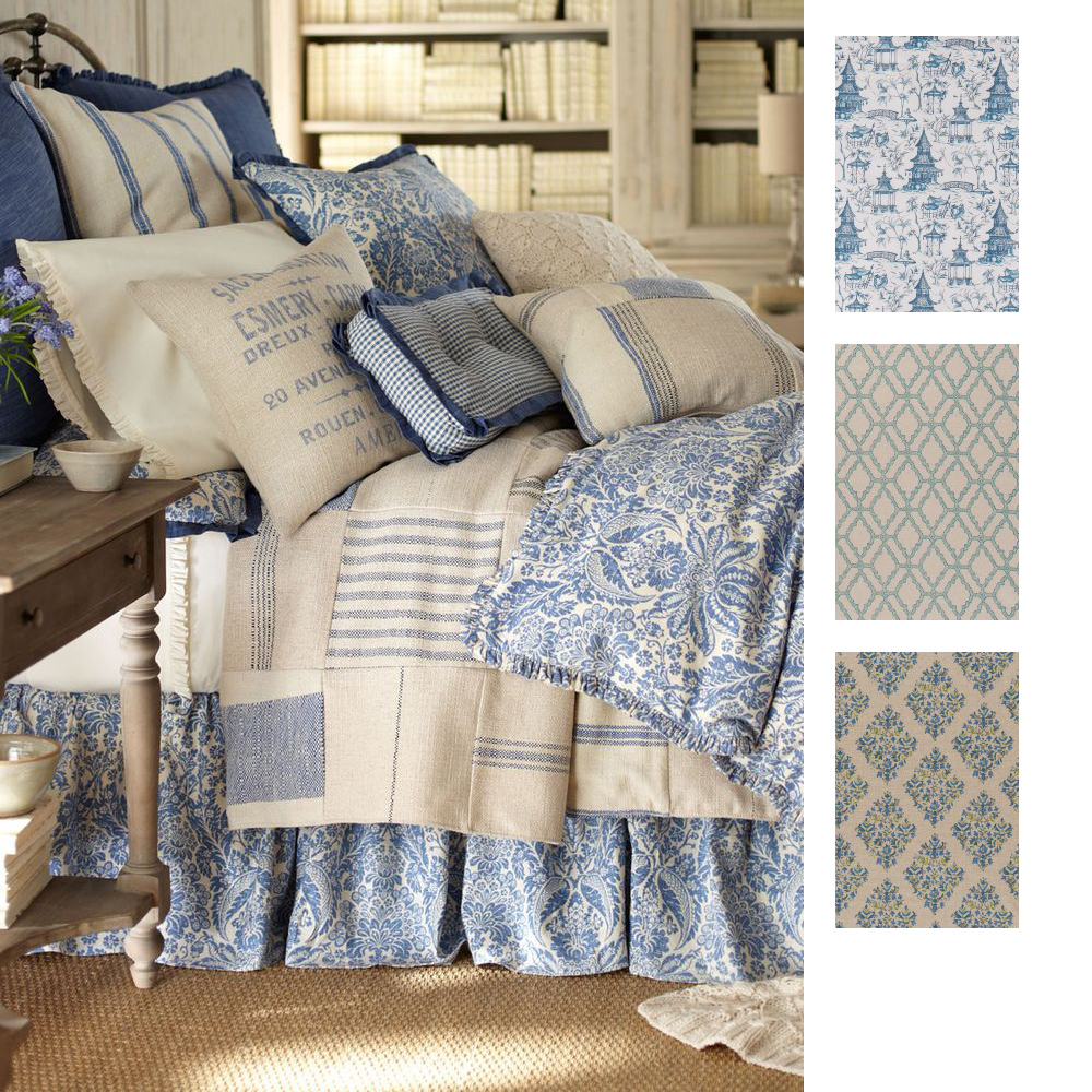 Pottery barn asian toile duvet cover