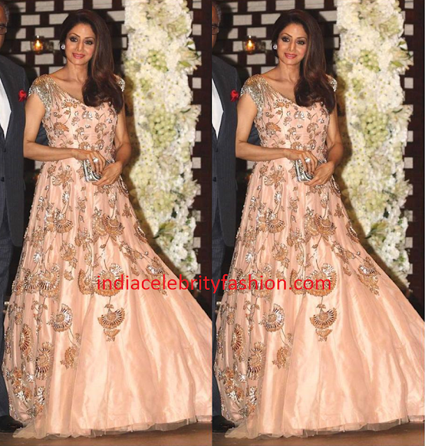 Sridevi Kapoor in Manish Malhotra Peach Gown