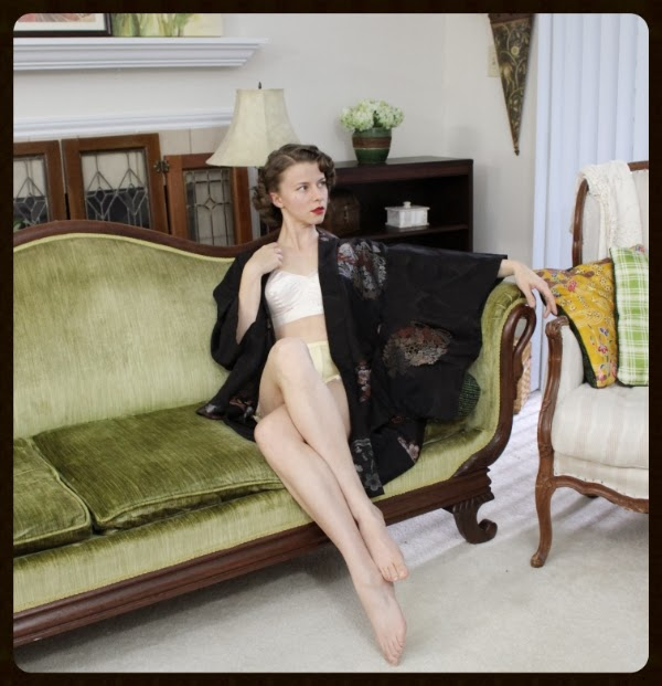 Lounging in Vintage #vintage #lingerie #kimono