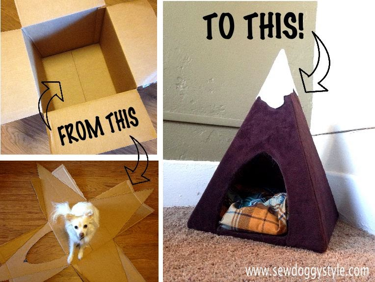 Sew doggystyle diy snowy mountain peak pet tent for Make a cat bed out of a box