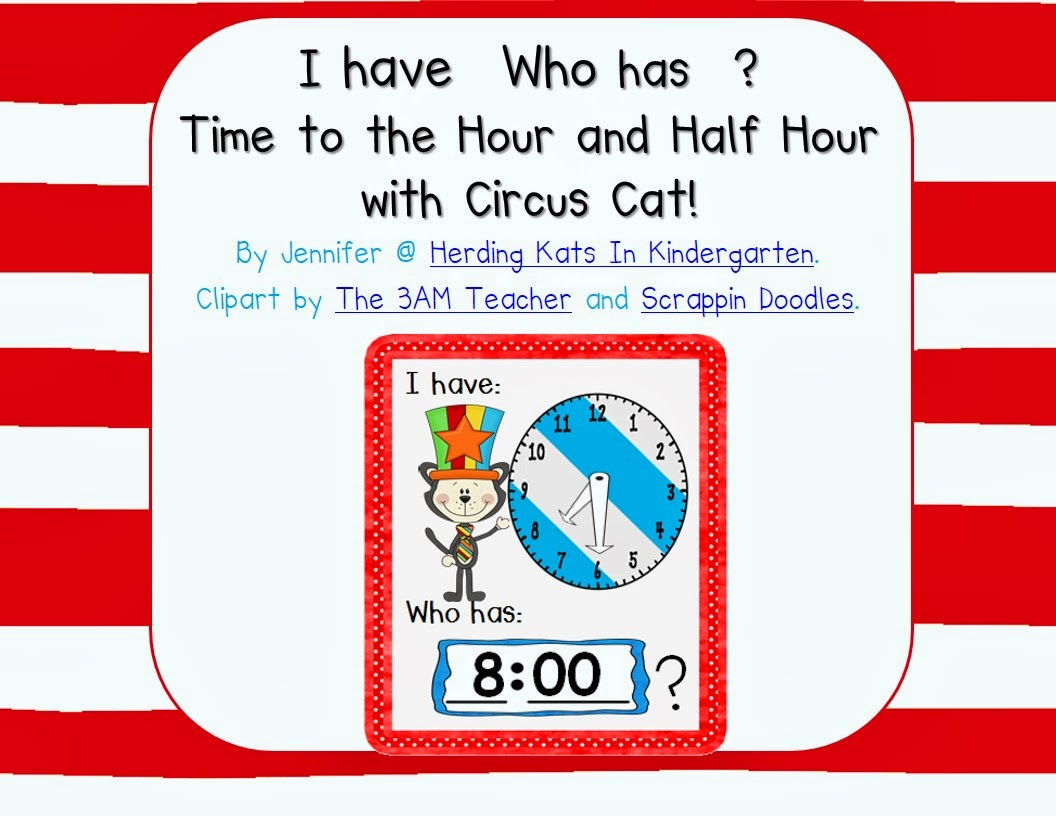 http://www.teacherspayteachers.com/Product/Circus-Cat-I-haveWho-has-Time-to-the-Hour-and-12-Hour-Game-1127611