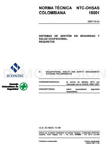 Adquiera la norma OHSAS 18001:2007 en