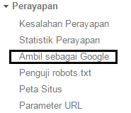 Tombol fetch as google di google webmaster