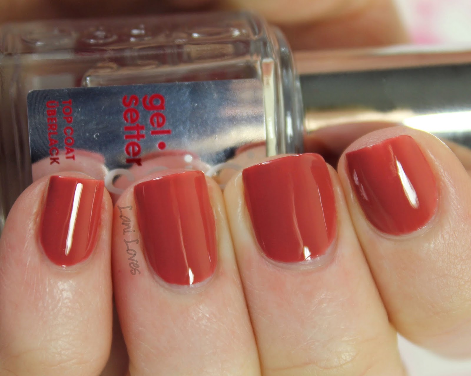 Essie Gel Setter Top Coat & In Stitches Nail Polish Review - Lani Loves