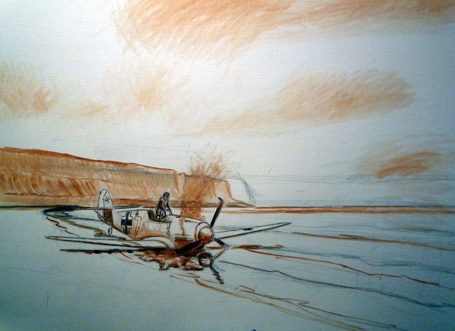 Pintura aterrizaje forzoso del BF 109 de Hans Joachim Marseille en una playa de Francia