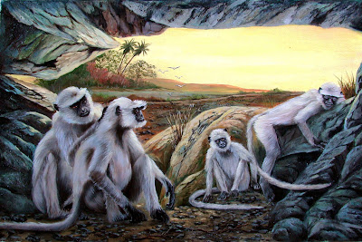 Monkey's - Oil on Canvas by Laura Curtin