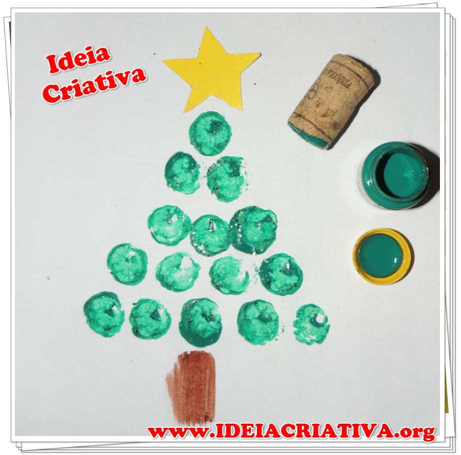 Árvore de Natal Técnica de pintura Carimbo de Rolha atividade Educação Infantil