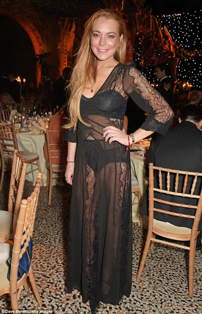 Actress, Model, Singer @ Lindsay Lohan at ePrix dinner at the Natural History Museum in London