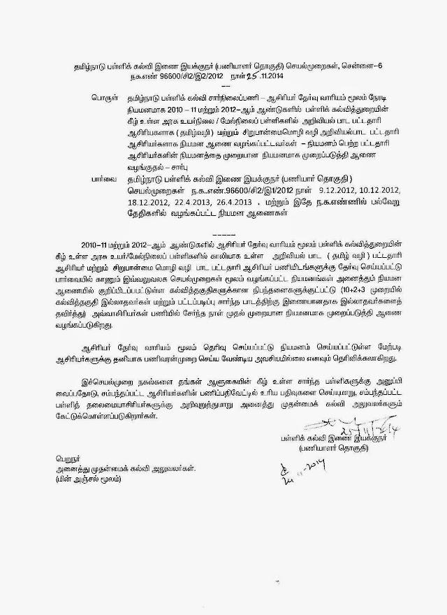 TRB Appointment – Regularisation order – 2012  Batch