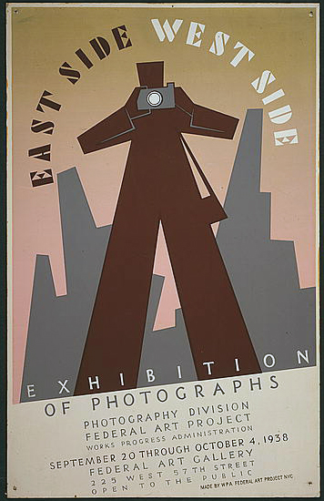 wpa, federal art project, photography, art, vintage, vintage posters, exhibition, retro prints, classic posters, graphic design, free download, East Side West Side Exhibition of Photographs - Vintage Federal Art Project Photography Poster