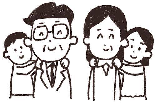 勤労感謝の日のイラスト「大人の肩を揉む子供達」線画